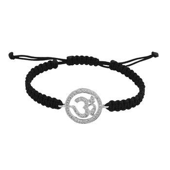 Om Bracelet in 14K White Gold 18mm size studded with diamonds on adjustable n...