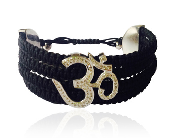 Om Cuff Bracelet in 925 Silver with Diamond on Adjustable Nylon Thread