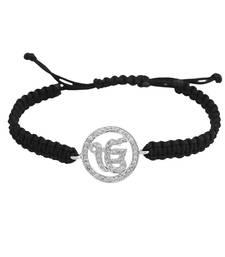 Buy Ik Onkar 14k White Gold studded with Diamonds on adjustable nylon thread gemstone-bracelet online
