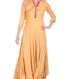 Buy Cream embroidered rayon party-wear-kurtis party-wear-kurti online