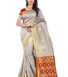 Buy white printed banarasi silk saree with blouse fashion-deal online