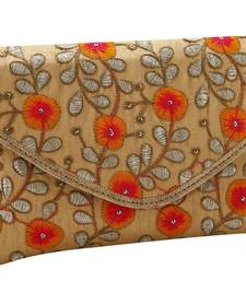 Buy Stylish & Elegant Floral Design Gold Clutch clutch online