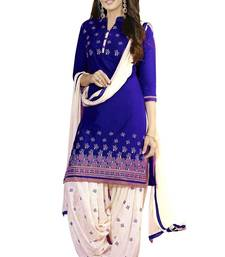 Buy Blue printed cotton poly unstitched salwar with dupatta patiala-salwar online