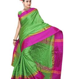 Buy Green printed banarasi saree with blouse banarasi-saree online