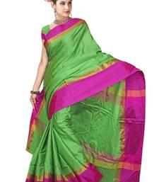 Buy Green printed banarasi saree with blouse banarasi-saree online
