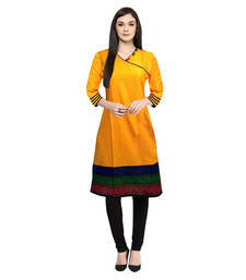 Buy Mustard printed cotton-kurtis cotton-kurti online