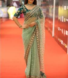 Buy Green embroidered georgette saree with blouse wedding-saree online