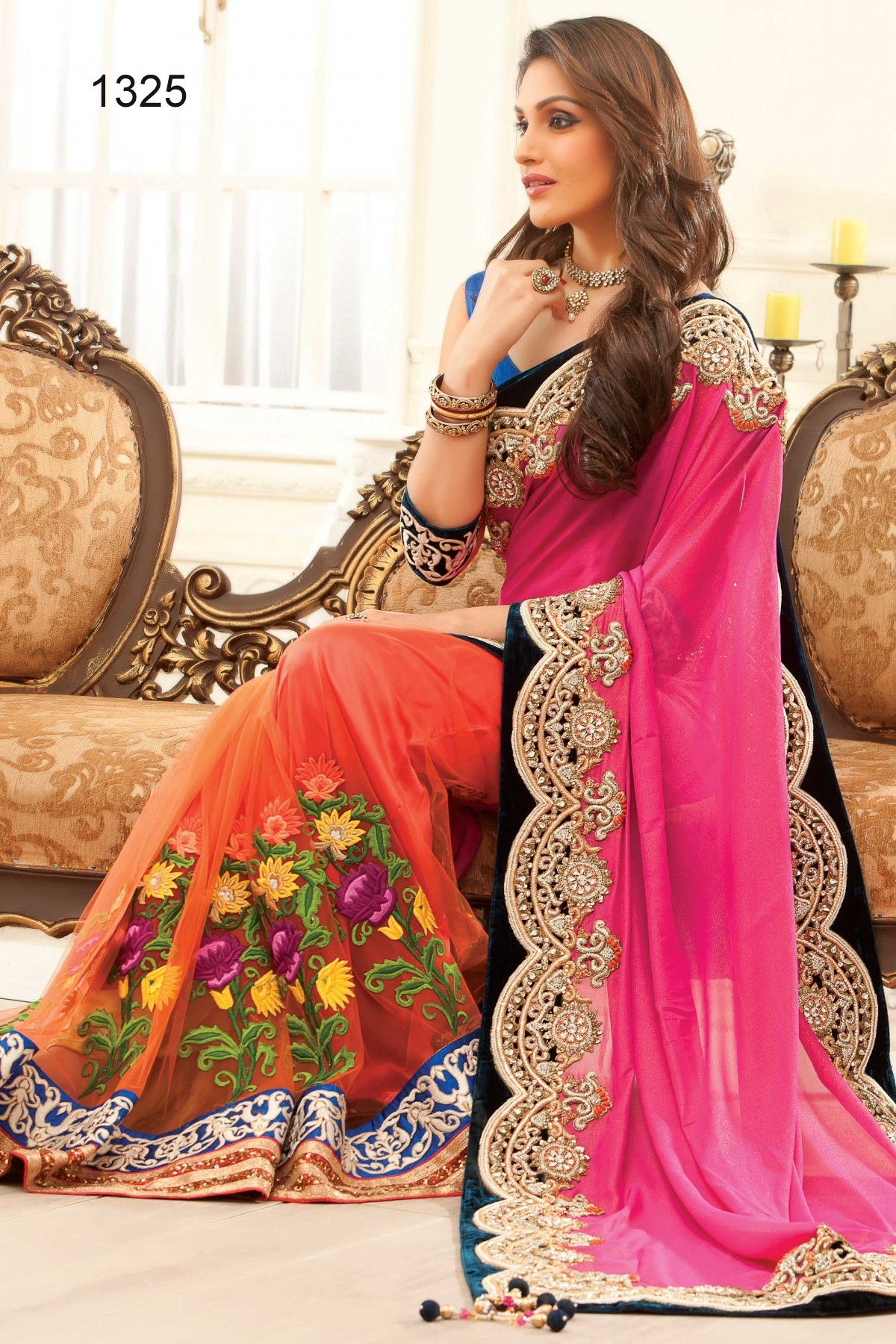 buy pink and orange embroidered silk saree with blouse bridal saree online