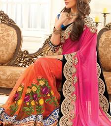 Buy pink and orange embroidered silk saree with blouse bridal-saree online