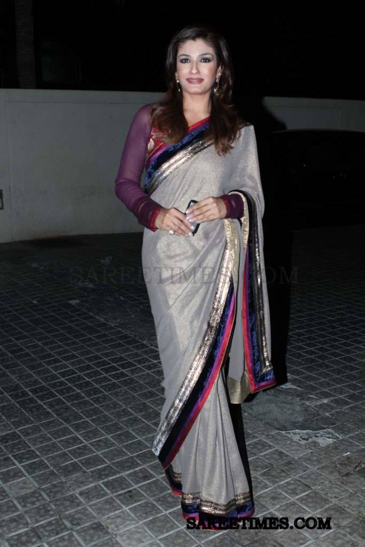 6fffd2e3cb5 grey plain Sparkling Chiffon saree with blouse - Manjula Feb - 323421