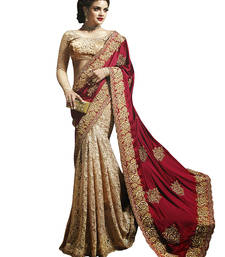 Buy Beige embroidered satin saree with blouse heavy-work-saree online