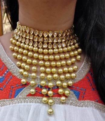 Pearl And Kundan Choker Necklace