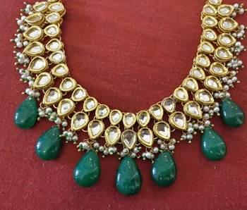 Green Gemstone Drops Kundan Choker Necklace