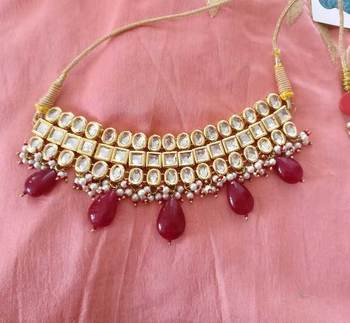 Red Gemstone Drops Kundan Choker Necklace