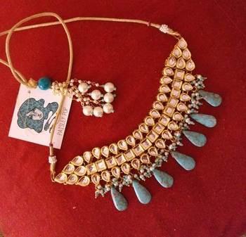 Turquoise gemstone kundan choker
