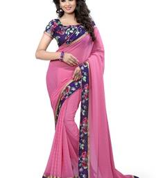 Buy Pink printed brasso saree with blouse brasso-saree online