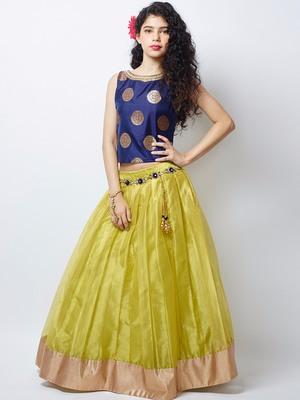 Lemon green plain soft nett kids lehenga choli for wedding wear kids wear kids gown 2 years to 14 years