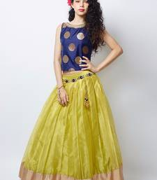 Buy New Arrival Designer Lemon green plain soft nett kids lehenga choli for wedding wear kids wear kids gown kids-lehenga-choli online