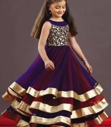 Buy Blue and red plain Soft Net Tafeta kids dress Kids wear Kids Gown(4-15 years) kid online