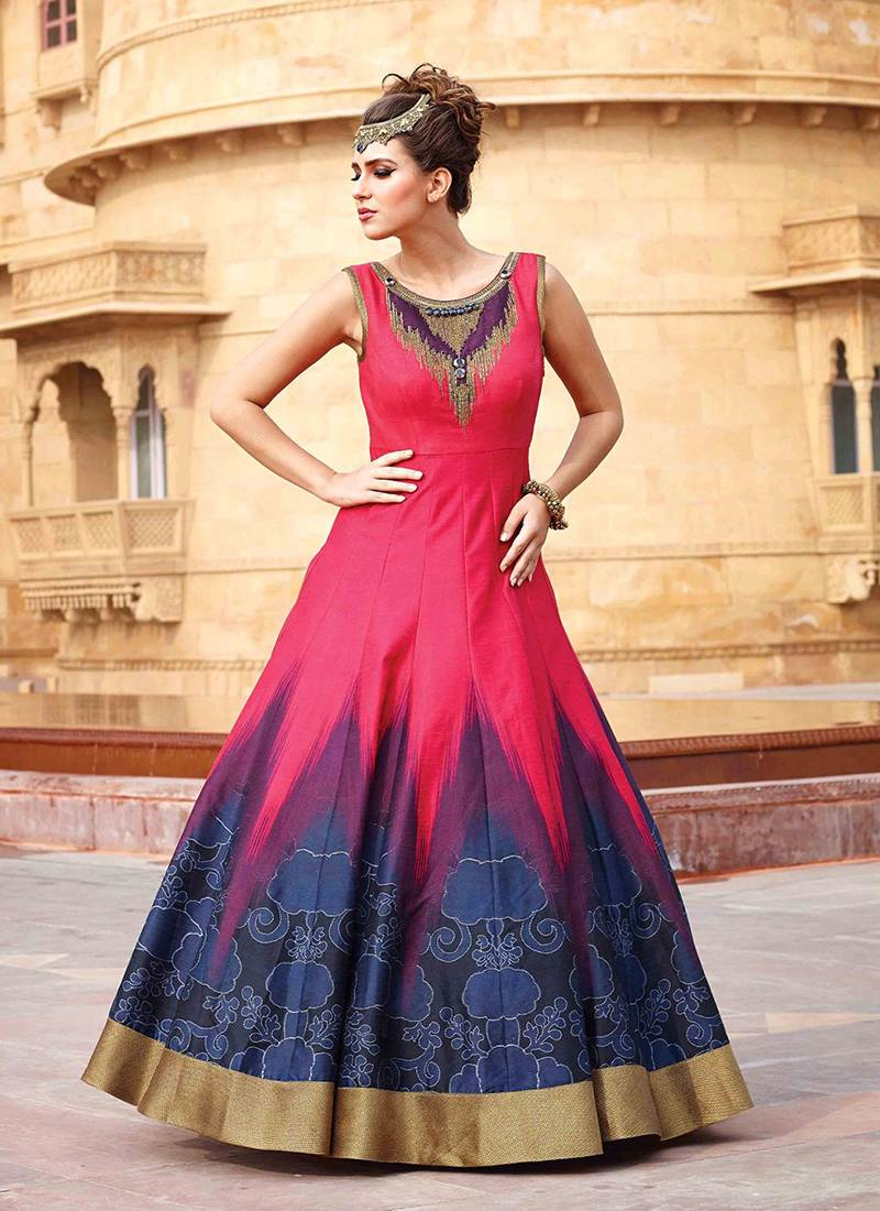 Buy Red and blue soft raw silk semi stitched indian wedding bridal ...