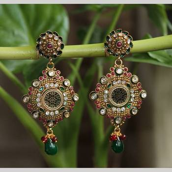 Inlay work earrings with Green Drop