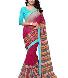 Buy Magenta printed supernet saree with blouse supernet-saree online