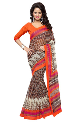 Brown printed supernet saree with blouse