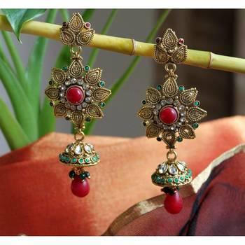 Flower Earrings with Kundan Jhumkis