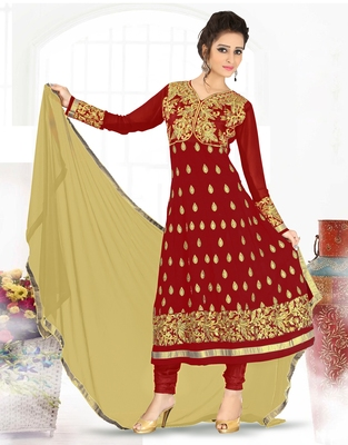80c1042cc1 Red embroidered georgette semi stitched Anarkali Suit - Mirchi Fashion -  1626573