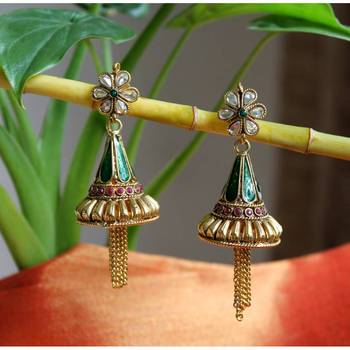 Enamel Jhumki Earrings