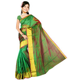 Buy Green plain art silk saree with blouse art-silk-saree online