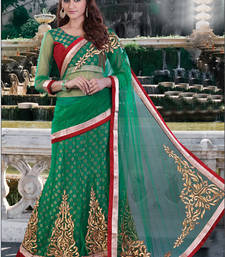 Buy Dark green embroidered net saree with blouse one-minute-saree online