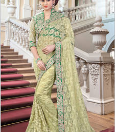 Buy Lemon embroidered net saree with blouse one-minute-saree online