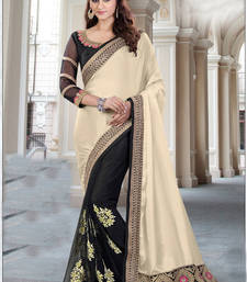 Buy Cream embroidered art silk saree with blouse one-minute-saree online