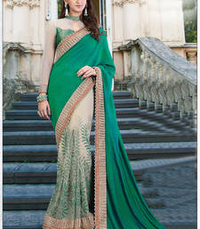 Buy Dark green embroidered art silk saree with blouse one-minute-saree online