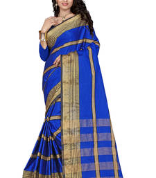 Buy Blue plain cotton silk saree with blouse below-400 online