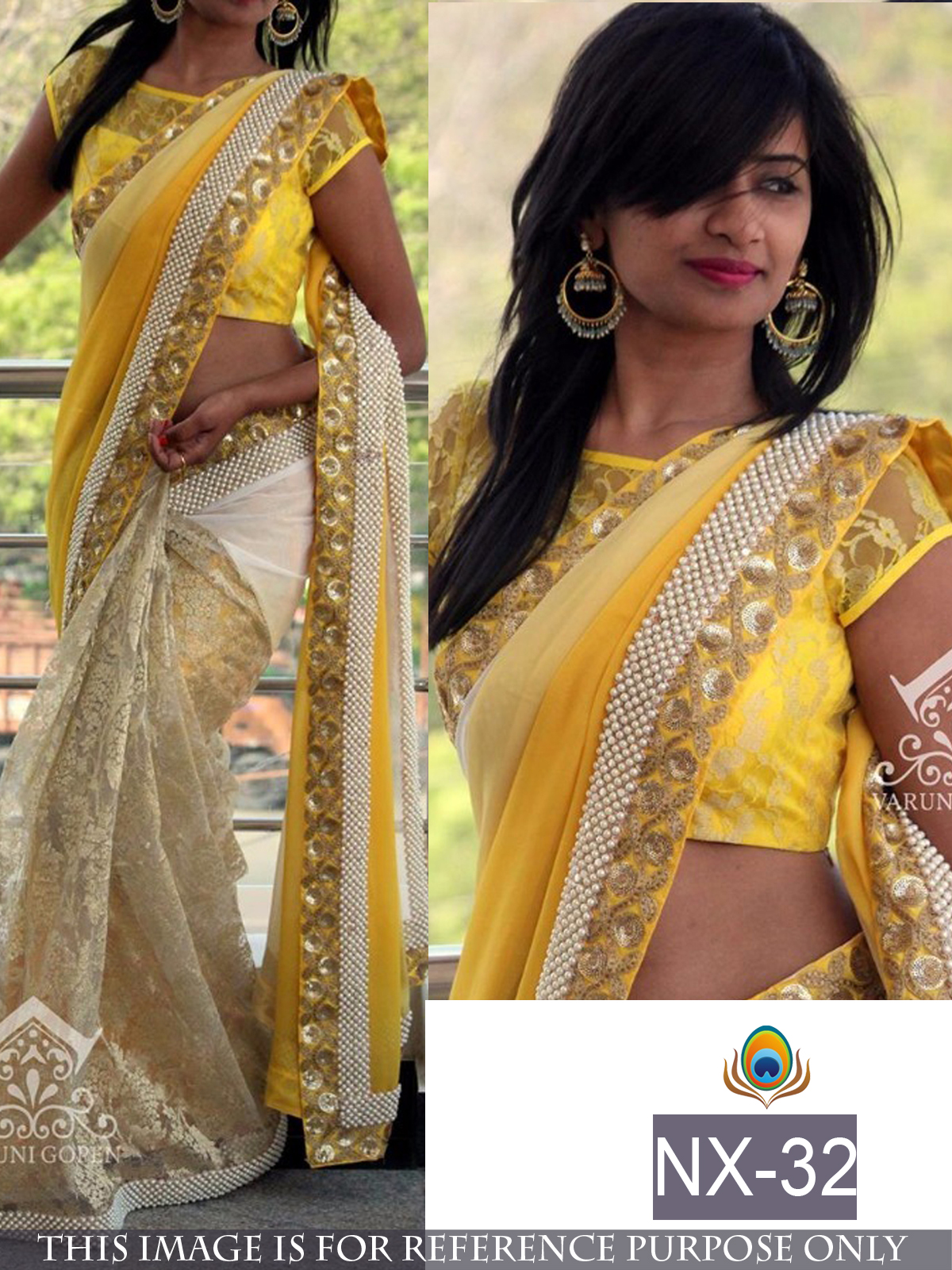 94a0fb1bb5574a Yellow embroidered georgette saree with blouse - Shree Sai Trading - 1628450