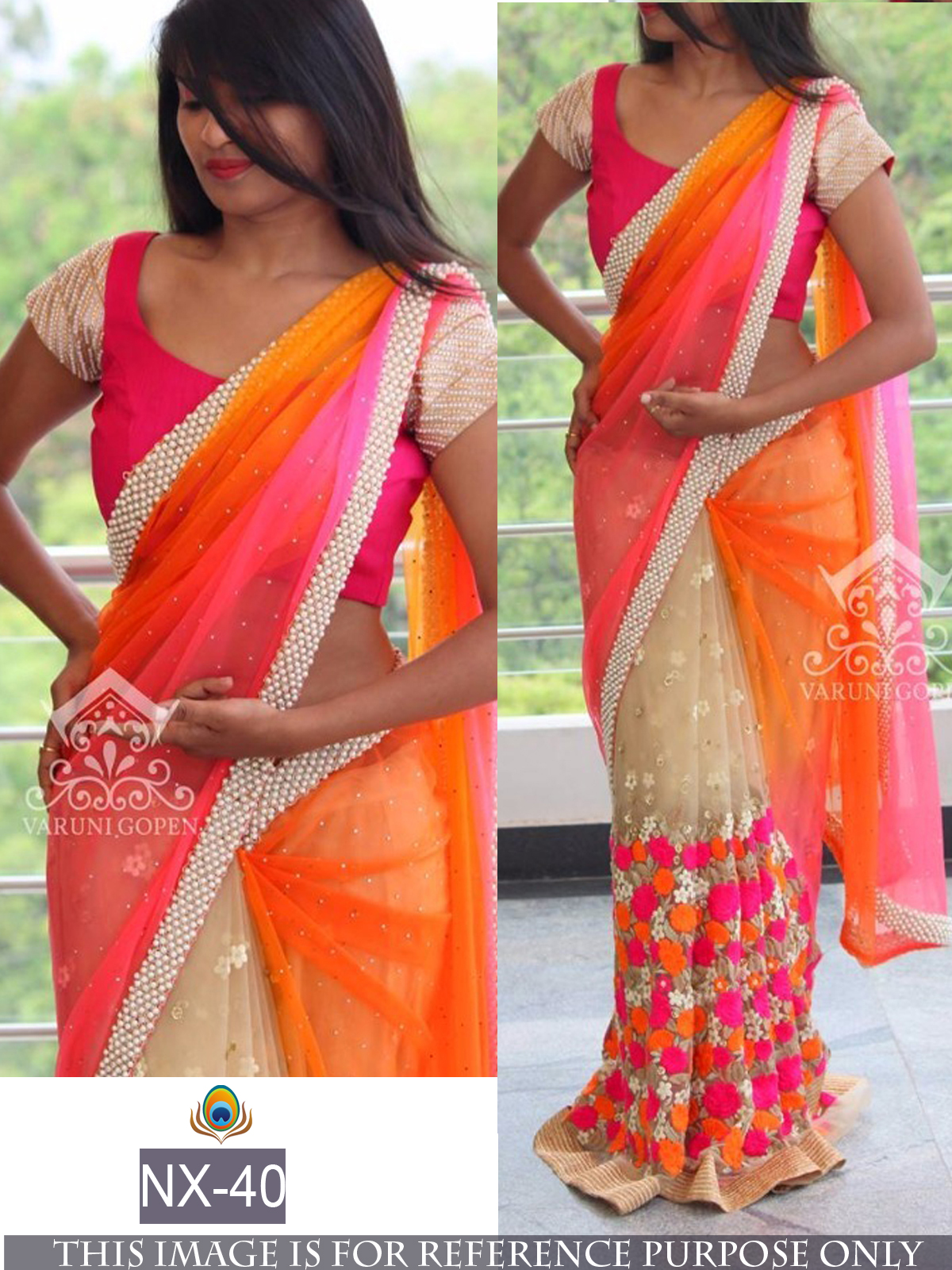 ff8c8004843f2a Multicolor embroidered georgette saree with blouse - Shree Sai Trading -  1628458