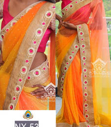 Buy Yellow embroidered nylon saree with blouse party-wear-saree online