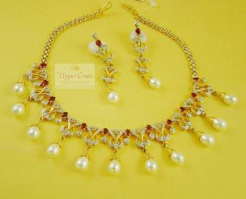 Ruby & Pearls CZ Simulated Diamond Necklace Earring Set