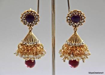 Polki Kundan Stone Lakshmi - Purple Necklace Set