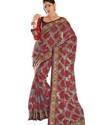 Buy Hypnotex Grey Tissue Jacquard Saree tissue-saree online