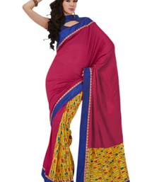 Buy Hypnotex Pink And Yellow Art Silk Saree party-wear-saree online