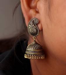 Gold Tone Oxidised Office Wear Jaipuri TraditionalJhumka Earrings