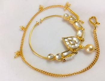 golden kundan nose ring