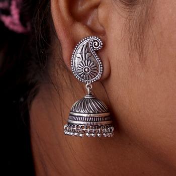 Silver Tone Oxidised Office wear Jaipuri Traditio0l Jhumka Earrings