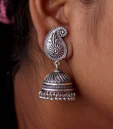 Buy Silver Tone Oxidised Office wear Jaipuri Traditio0l Jhumka Earrings jhumka online