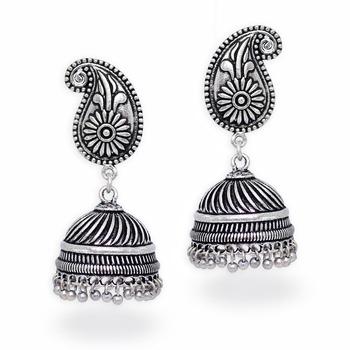 Silver Tone Oxidised Office Wear Jaipuri TraditionalJhumka Earrings