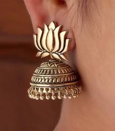Gold Tone Lotus Design Stud Jhumki Earrings for Party Function