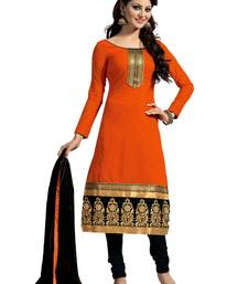 Buy Orange chanderi embroidered Straight suits Dress material chanderi-salwar-kameez online